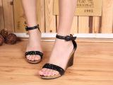 欧美风女凉鞋 头层牛皮串珠厚底高坡跟一字女凉鞋子批发一件代发