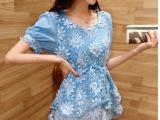 韩版女装大码显瘦修身圆领打底短袖蕾丝雪纺衫女上衣