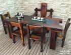 乐山市老船木茶桌椅子仿古茶台实木沙发茶几餐桌办公桌家具博古架