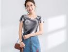 2018夏季装新款韩版条纹T恤女上衣短袖短款圆领百搭修身上衣