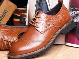 男鞋2014新款男士休闲鞋子 男流行男鞋系带透气真皮低帮皮鞋批发
