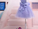 女孩儿花童婚纱礼服 女童紫色六一演出连衣蓬蓬裙