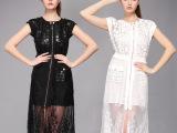 2015欧美夏装蕾丝长裙 修身大牌短袖两件套女装连衣裙工厂直销