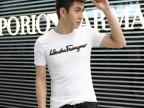 2014夏季新款男装V领短袖T恤男士印花纯棉修身韩版潮男 厂家直销
