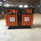 河北绿美供应小区钢木垃圾桶 户外 木质垃圾箱 单筒户外垃圾桶