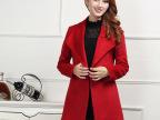 欧州站女式外套15秋季新款大衣女两粒扣羊绒大衣批发西装领外套女