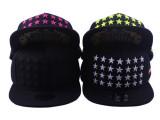 韩版五星图案刺绣平沿帽街舞嘻哈鸭舌棒球帽子男女潮