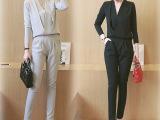 女套装春秋时尚新款韩版长袖两件套连体套装