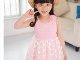 女童装夏款2014新款裙子蕾丝拼接背心裙韩版珍珠链无袖连衣裙
