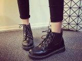 马丁靴女秋冬季新款女鞋英伦风系带粗跟平底