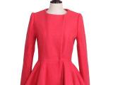 Irina Miro2014年新款秋冬装圆领荷叶边长袖羊毛外套大