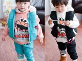 童套装  童装小童三件套男童女童加厚加绒卫衣套装宝宝秋冬装