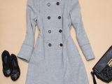 外贸精品女装2014秋冬新款欧美风时尚双排扣圆领羊绒大衣外套加厚