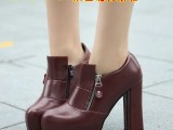 秋冬款粗跟圆头单鞋女士高跟鞋防水台厚底皮鞋侧拉链低帮深口女鞋