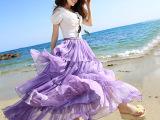 唯美2015春夏新款沙滩雪纺半身长裙大摆裙度假长裙子高端正品夏