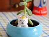 创意卖萌新款二色可选手工小猫陶瓷多肉花盆花器软装摆件淘宝货源