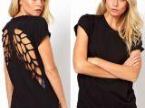 速卖通ebay欧美爆款后背激光雕刻镂空天使翅膀黑色圆领短袖女T恤