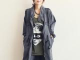 A0451  韩版百搭长款女式牛仔风衣女式休闲宽松显瘦时尚韩版外