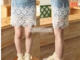 爱薇儿童装批发 韩版儿童半身裙 包裙 韩版女童蕾丝拼接牛仔短裙