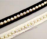 白底黑底棉布无纺布白色仿珍珠金线重工手缝花边蕾丝服饰装饰辅料