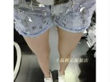 欧洲站2014新款百搭休闲重工钉珠镶钻克罗心牛仔短裤 热裤 女
