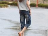 2014秋季女装新款牛仔裤韩版宽松显瘦卡通潮大码牛仔裤 七分裤