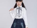 2014秋装新款 女大童装花边翻领长袖白色衬衣韩版棉衬衫 大童女