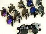 欧美vintage蒸汽朋克多功能双层翻盖复古太阳眼镜 金属墨镜圆形