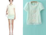 外贸14春夏新款  欧美大牌 女式泡泡袖纯色上衣 女装可爱短袖T