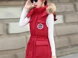 2015秋冬女装连帽韩版抽绳收腰中长款百搭棉马甲气质显瘦