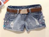 2014新款女装 韩版牛仔短裤女 镶钻钉珠女式牛仔裤 宽松磨白短
