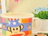 卡通餐具大嘴猴密封保鲜碗 陶瓷碗套装 可爱泡面碗 可微波