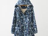 2014冬装新款女式中长款棉衣 棉袄大衣羊羔毛小碎花燕尾棉服
