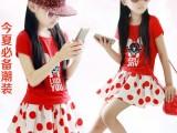 一件代发 韩版夏季儿童女童纯棉短袖+波点短裙 公主套裙套装