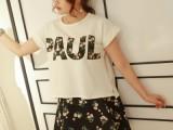 2014韩国东大门夏季女装 圆领短袖T恤+印花半身裙两件套 休闲