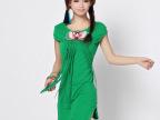 C6152  厂家直销 2013新款领口贴布绣花 针织短袖 女 连衣裙 塘色