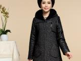 2014冬新款 中老年羊毛夹棉加厚大衣外套大码女装 妈妈装毛呢大