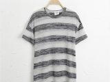 2014夏装新款 舒适休闲宽松条纹中长款短袖薄款女棉质T恤厂家直