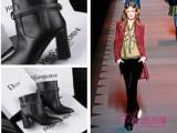 微信代理欧美品牌外贸原单真皮女靴走秀款迪家同款中跟粗跟女靴