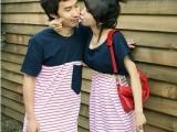 厂家直销 韩国情侣装 深蓝红条纹T恤情侣装 情侣T恤