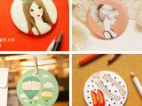 韩国 wood甜美森林女 可爱卡通小镜子 便携化妆镜随身镜