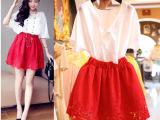 韩国代购复古蝙蝠衫刺绣镂空花朵蓬蓬连衣裙2件套
