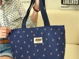 2014新款帆布包印花蓝色小花单肩包横款时尚休闲女包厂价批发
