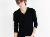 2014新品男装黑色男生小v领长袖T恤韩版修身男士打底衣服一件代