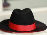 新款**级别范冰冰红色拼黑色M家毛呢帽子欧美街头礼帽厂家批发
