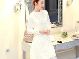 厂家批发2015秋季新品品牌蕾丝长裙欧美白色绣花镂空大码连衣裙潮