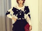 秋款打底衫 新款冷艳的美性感透视网纱蕾丝唯美雕花韩国T恤