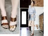 14新款时尚拼色漆皮包跟凉鞋头层牛皮粗中跟蝴蝶结女鞋
