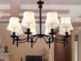 广东中山现货批发欧式铁艺简约客厅布艺LED吊灯 美式田园卧室吊灯