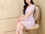 实力厂家2014夏季新款甜美女装修身碎花A字裙提花圆领短袖连衣裙